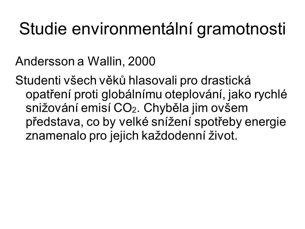 Studie environmentální gramotnosti Andersson a Wallin, 2000 Studenti všech věků hlasovali pro drastická opatření proti globálnímu oteplování, jako rychlé snižování emisí CO 2.