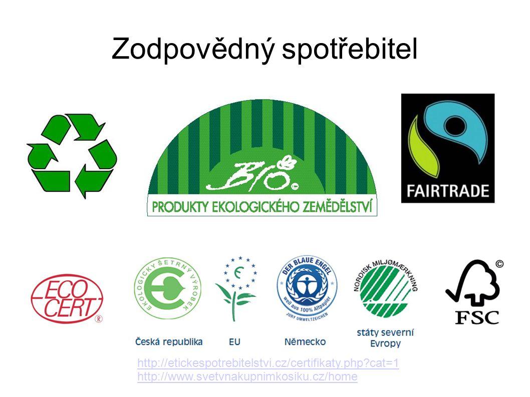 Zodpovědný spotřebitel http://etickespotrebitelstvi.cz/certifikaty.php cat=1 http://www.svetvnakupnimkosiku.cz/home