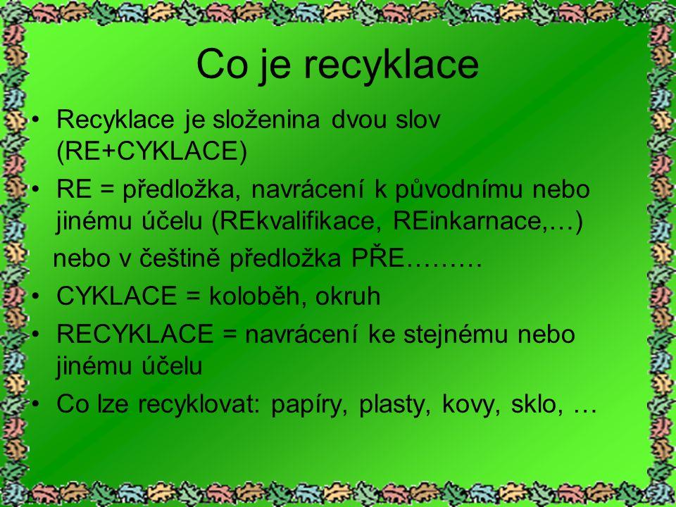 Co je recyklace Recyklace je složenina dvou slov (RE+CYKLACE) RE = předložka, navrácení k původnímu nebo jinému účelu (REkvalifikace, REinkarnace,…) nebo v češtině předložka PŘE……… CYKLACE = koloběh, okruh RECYKLACE = navrácení ke stejnému nebo jinému účelu Co lze recyklovat: papíry, plasty, kovy, sklo, …