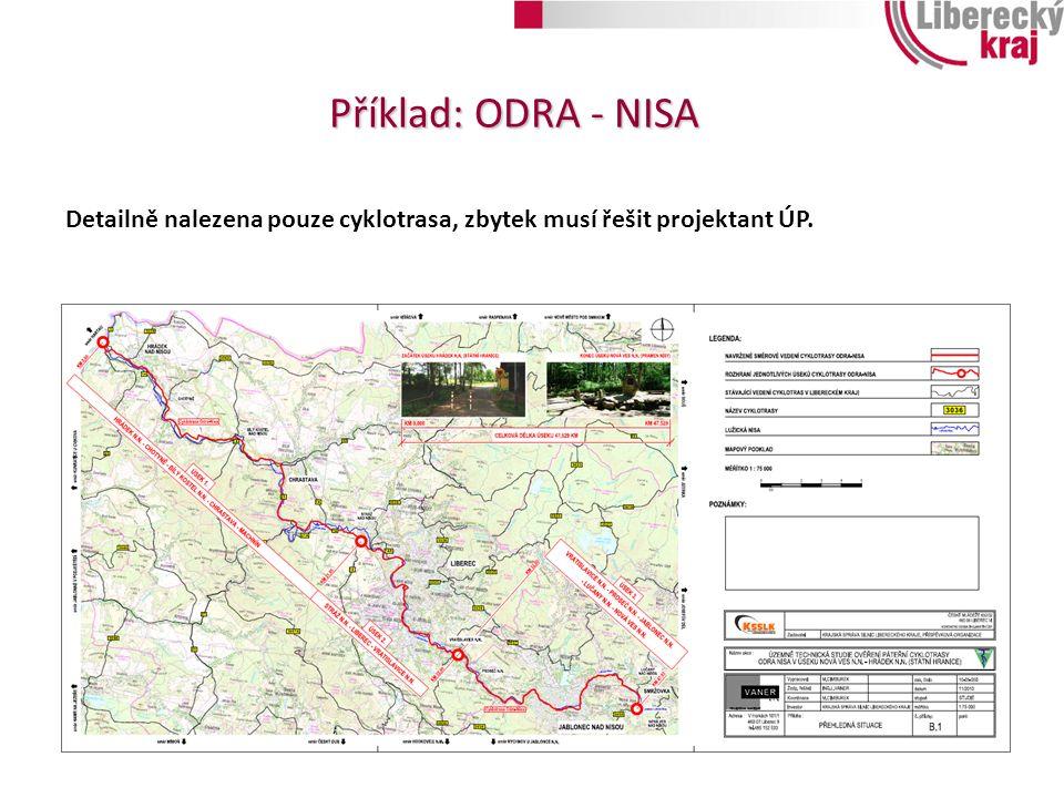Příklad: ODRA - NISA Detailně nalezena pouze cyklotrasa, zbytek musí řešit projektant ÚP.