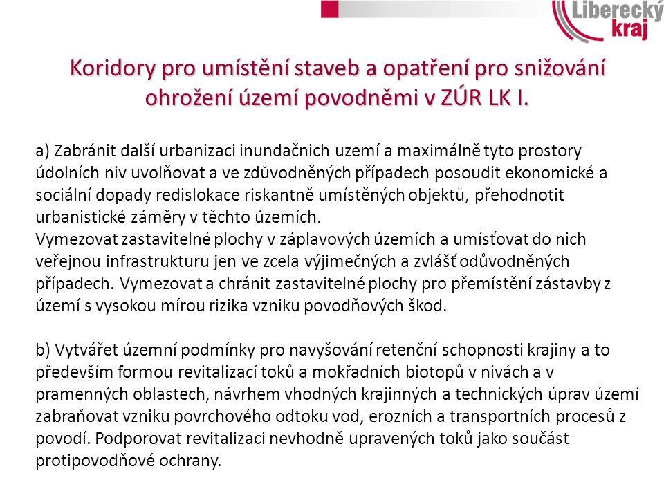 Koridory pro umístění staveb a opatření pro snižování ohrožení území povodněmi v ZÚR LK II.