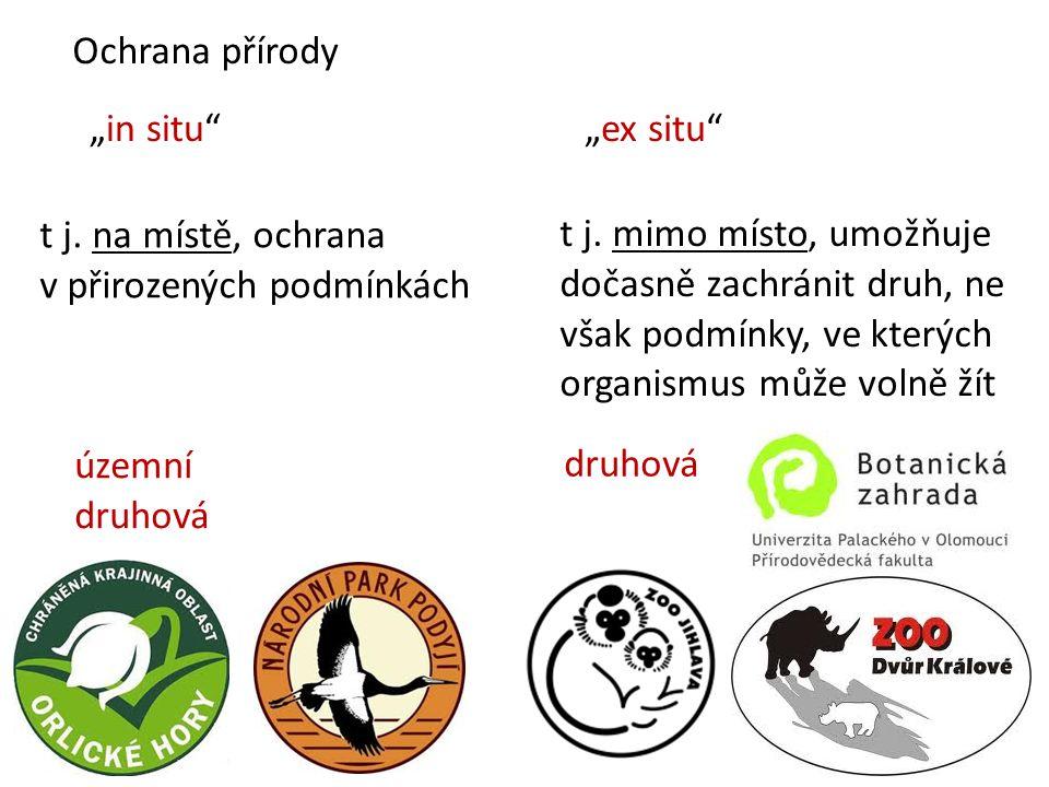 """Ochrana přírody """"in situ """"ex situ t j. na místě, ochrana v přirozených podmínkách t j."""