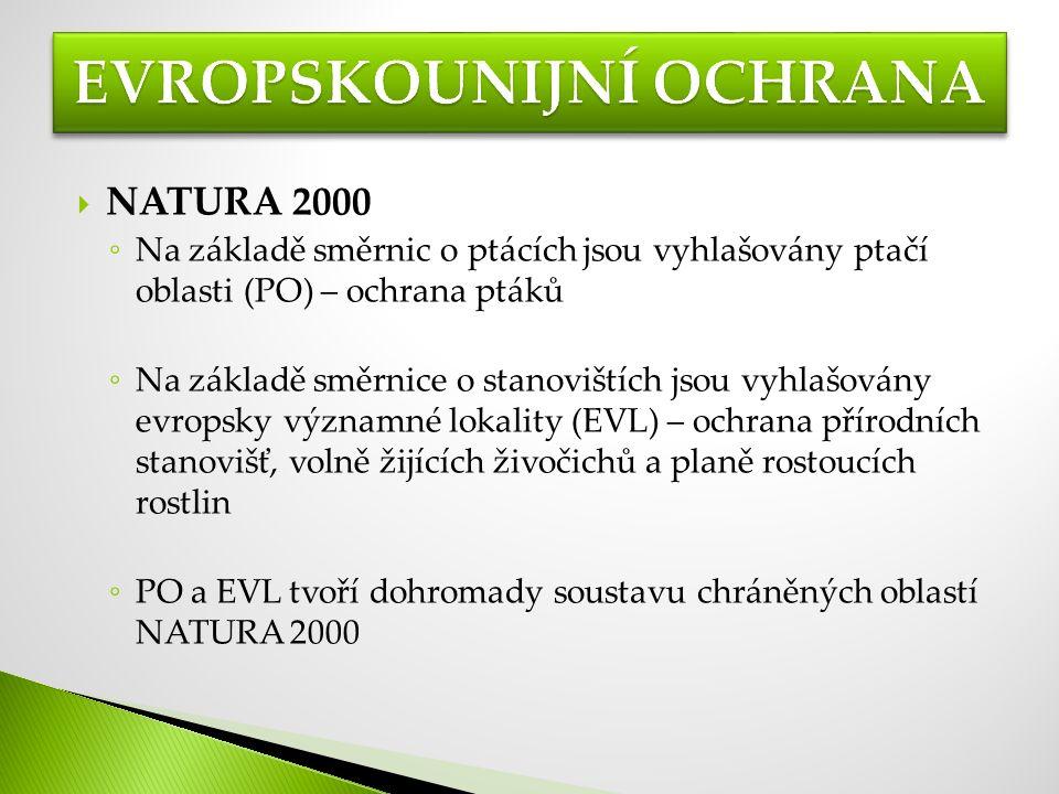  NATURA 2000 ◦ Na základě směrnic o ptácích jsou vyhlašovány ptačí oblasti (PO) – ochrana ptáků ◦ Na základě směrnice o stanovištích jsou vyhlašovány