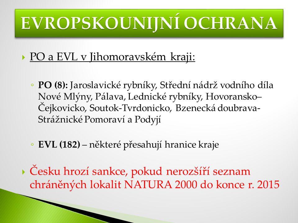  PO a EVL v Jihomoravském kraji: ◦ PO (8): Jaroslavické rybníky, Střední nádrž vodního díla Nové Mlýny, Pálava, Lednické rybníky, Hovoransko– Čejkovicko, Soutok-Tvrdonicko, Bzenecká doubrava- Strážnické Pomoraví a Podyjí ◦ EVL (182) – některé přesahují hranice kraje  Česku hrozí sankce, pokud nerozšíří seznam chráněných lokalit NATURA 2000 do konce r.