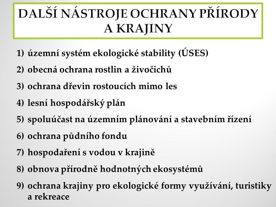 1)územní systém ekologické stability (ÚSES) 2)obecná ochrana rostlin a živočichů 3)ochrana dřevin rostoucích mimo les 4)lesní hospodářský plán 5)spoluúčast na územním plánování a stavebním řízení 6)ochrana půdního fondu 7)hospodaření s vodou v krajině 8)obnova přírodně hodnotných ekosystémů 9)ochrana krajiny pro ekologické formy využívání, turistiky a rekreace
