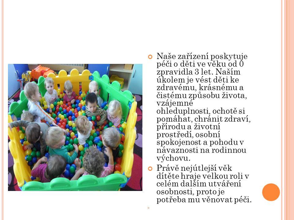Naše zařízení poskytuje péči o děti ve věku od 0 zpravidla 3 let. Naším úkolem je vést děti ke zdravému, krásnému a čistému způsobu života, vzájemné o