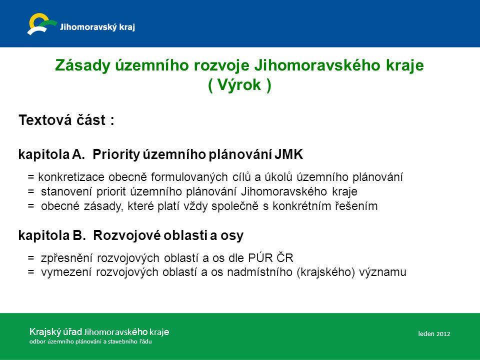 Zásady územního rozvoje Jihomoravského kraje ( Výrok ) Textová část : kapitola A.