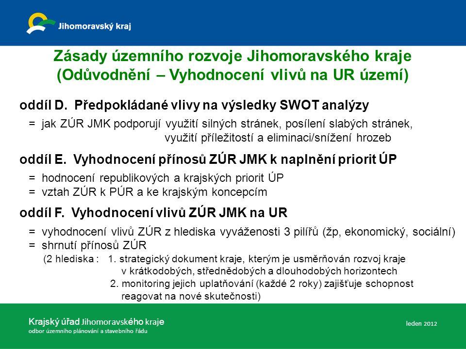 Zásady územního rozvoje Jihomoravského kraje (Odůvodnění – Vyhodnocení vlivů na UR území) oddíl D.
