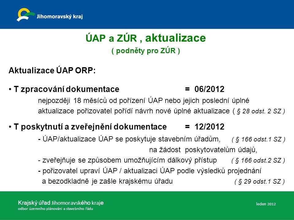 Krajský úřad Jihomoravsk ého kraj e odbor územního plánování a stavebního řádu ÚAP a ZÚR, aktualizace ( podněty pro ZÚR ) Aktualizace ÚAP ORP: T zpracování dokumentace= 06/2012 nejpozději 18 měsíců od pořízení ÚAP nebo jejich poslední úplné aktualizace pořizovatel pořídí návrh nové úplné aktualizace ( § 28 odst.