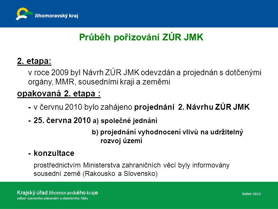 Průběh pořizování ZÚR JMK Krajský úřad Jihomoravsk ého kraj e odbor územního plánování a stavebního řádu -srpen 2010 – leden 2011 dohodovací jednání (uplatněno 22 podání, z toho 17 stanovisek DO a 5 vyjádření sousedních krajů) - písemné dohody s DO -16.