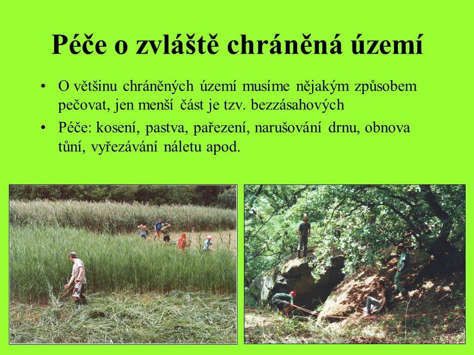 Péče o zvláště chráněná území O většinu chráněných území musíme nějakým způsobem pečovat, jen menší část je tzv.