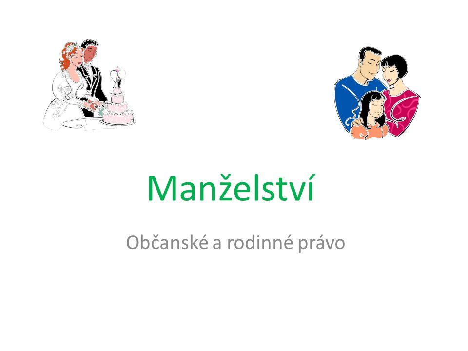 Manželství v ČR = dobrovolný svazek mezi mužem a ženou nelze si ho nijak vynutit, nikdo nám ho nemůže nařídit Pouze mezi jedinci opačného pohlaví