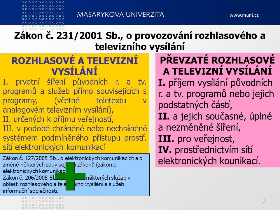 2 Zákon č. 231/2001 Sb., o provozování rozhlasového a televizního vysílání ROZHLASOVÉ A TELEVIZNÍ VYSÍLÁNÍ I. prvotní šíření původních r. a tv. progra