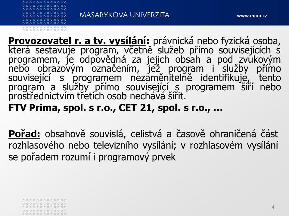 4 Provozovatel r. a tv. vysílání: právnická nebo fyzická osoba, která sestavuje program, včetně služeb přímo souvisejících s programem, je odpovědná z