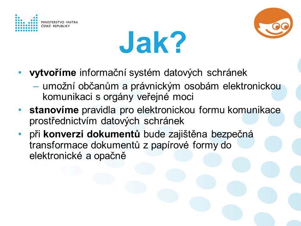 Jak? vytvoříme informační systém datových schránek –umožní občanům a právnickým osobám elektronickou komunikaci s orgány veřejné moci stanovíme pravid