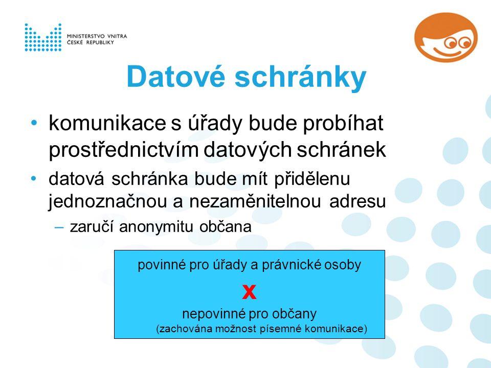 Datové schránky komunikace s úřady bude probíhat prostřednictvím datových schránek datová schránka bude mít přidělenu jednoznačnou a nezaměnitelnou adresu –zaručí anonymitu občana povinné pro úřady a právnické osoby x nepovinné pro občany (zachována možnost písemné komunikace)