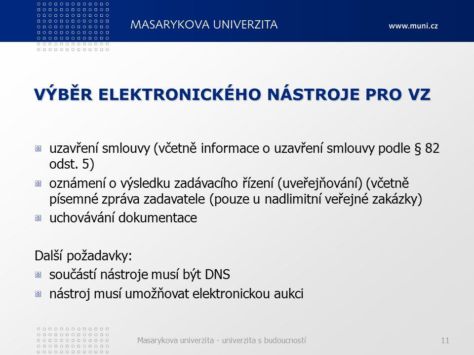 Masarykova univerzita - univerzita s budoucností11 VÝBĚR ELEKTRONICKÉHO NÁSTROJE PRO VZ uzavření smlouvy (včetně informace o uzavření smlouvy podle § 82 odst.