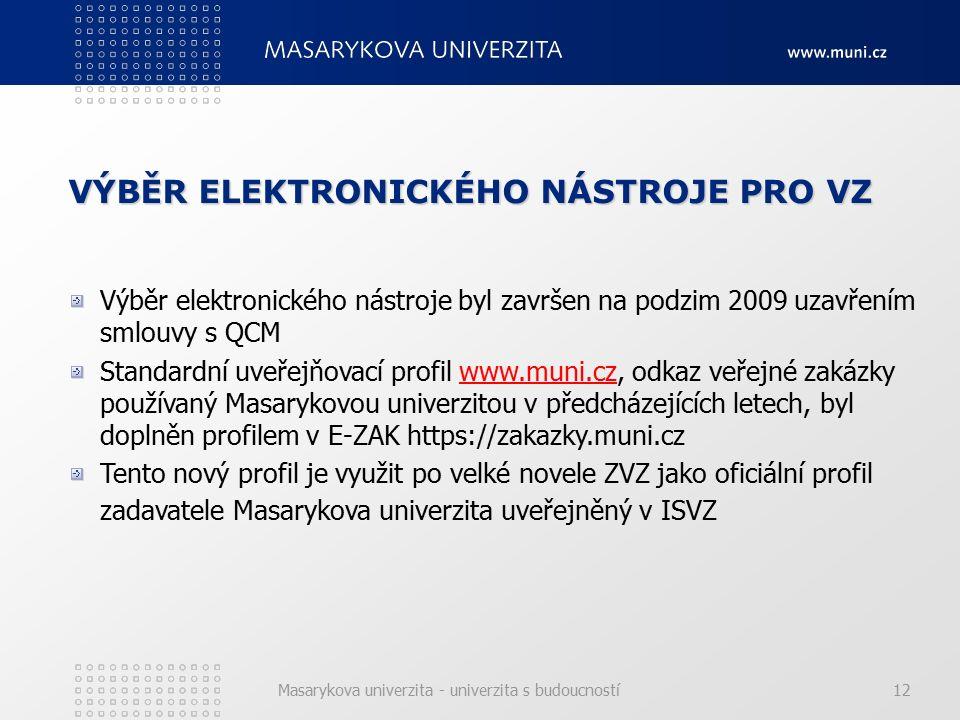 Masarykova univerzita - univerzita s budoucností12 VÝBĚR ELEKTRONICKÉHO NÁSTROJE PRO VZ Výběr elektronického nástroje byl završen na podzim 2009 uzavřením smlouvy s QCM Standardní uveřejňovací profil www.muni.cz, odkaz veřejné zakázky používaný Masarykovou univerzitou v předcházejících letech, byl doplněn profilem v E-ZAK https://zakazky.muni.czwww.muni.cz Tento nový profil je využit po velké novele ZVZ jako oficiální profil zadavatele Masarykova univerzita uveřejněný v ISVZ