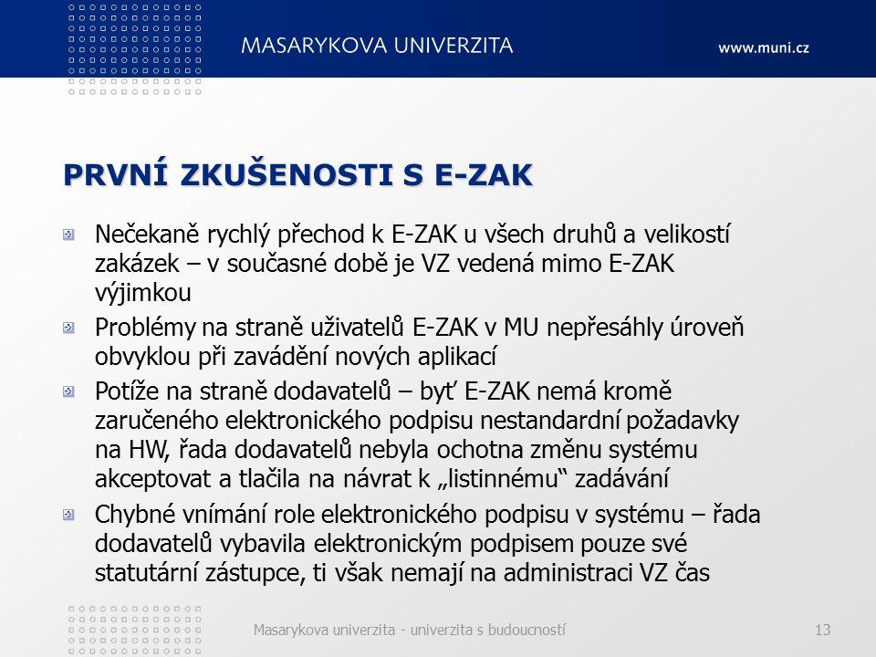 """Masarykova univerzita - univerzita s budoucností13 PRVNÍ ZKUŠENOSTI S E-ZAK Nečekaně rychlý přechod k E-ZAK u všech druhů a velikostí zakázek – v současné době je VZ vedená mimo E-ZAK výjimkou Problémy na straně uživatelů E-ZAK v MU nepřesáhly úroveň obvyklou při zavádění nových aplikací Potíže na straně dodavatelů – byť E-ZAK nemá kromě zaručeného elektronického podpisu nestandardní požadavky na HW, řada dodavatelů nebyla ochotna změnu systému akceptovat a tlačila na návrat k """"listinnému zadávání Chybné vnímání role elektronického podpisu v systému – řada dodavatelů vybavila elektronickým podpisem pouze své statutární zástupce, ti však nemají na administraci VZ čas"""