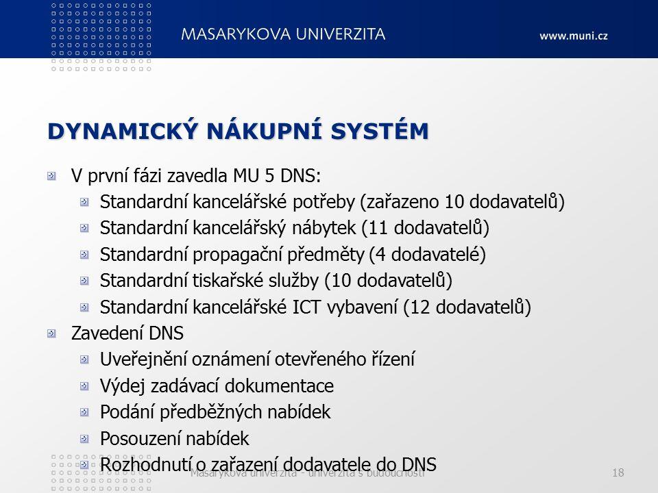Masarykova univerzita - univerzita s budoucností18 DYNAMICKÝ NÁKUPNÍ SYSTÉM V první fázi zavedla MU 5 DNS: Standardní kancelářské potřeby (zařazeno 10 dodavatelů) Standardní kancelářský nábytek (11 dodavatelů) Standardní propagační předměty (4 dodavatelé) Standardní tiskařské služby (10 dodavatelů) Standardní kancelářské ICT vybavení (12 dodavatelů) Zavedení DNS Uveřejnění oznámení otevřeného řízení Výdej zadávací dokumentace Podání předběžných nabídek Posouzení nabídek Rozhodnutí o zařazení dodavatele do DNS