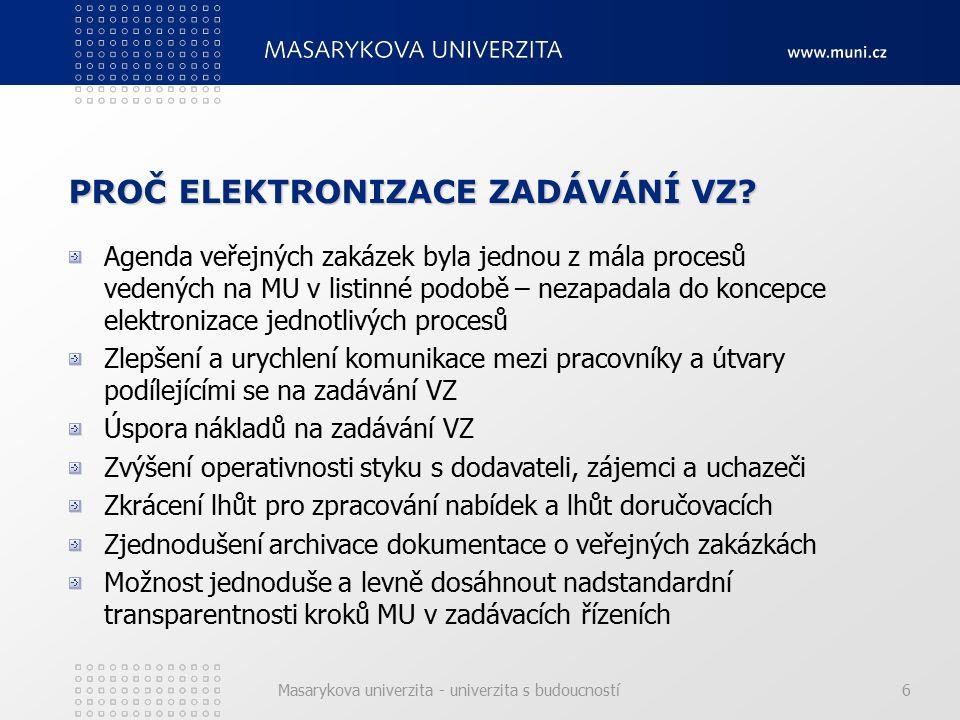 Masarykova univerzita - univerzita s budoucností17 DYNAMICKÝ NÁKUPNÍ SYSTÉM Dynamický nákupní systém - plně elektronický systém (jak na straně zadavatele, tak na straně dodavatelů) pro pořizování běžného a obecně dostupného zboží, služeb nebo stavebních prací, který je časově omezený a otevřený po celou dobu svého trvání všem dodavatelům, kteří splní podmínky pro zařazení do dynamického nákupního systému a podají předběžnou nabídku.