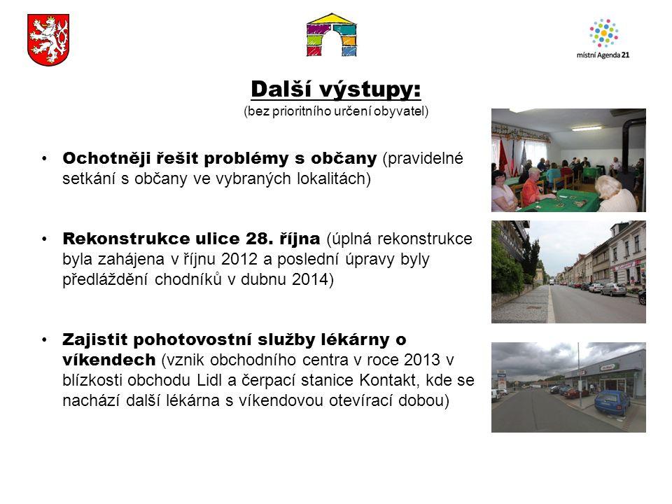 Další výstupy: (bez prioritního určení obyvatel) Ochotněji řešit problémy s občany (pravidelné setkání s občany ve vybraných lokalitách) Rekonstrukce