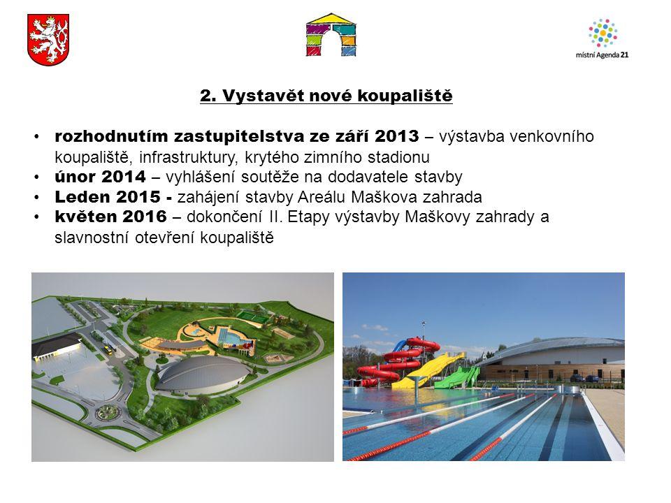 2. Vystavět nové koupaliště rozhodnutím zastupitelstva ze září 2013 – výstavba venkovního koupaliště, infrastruktury, krytého zimního stadionu únor 20