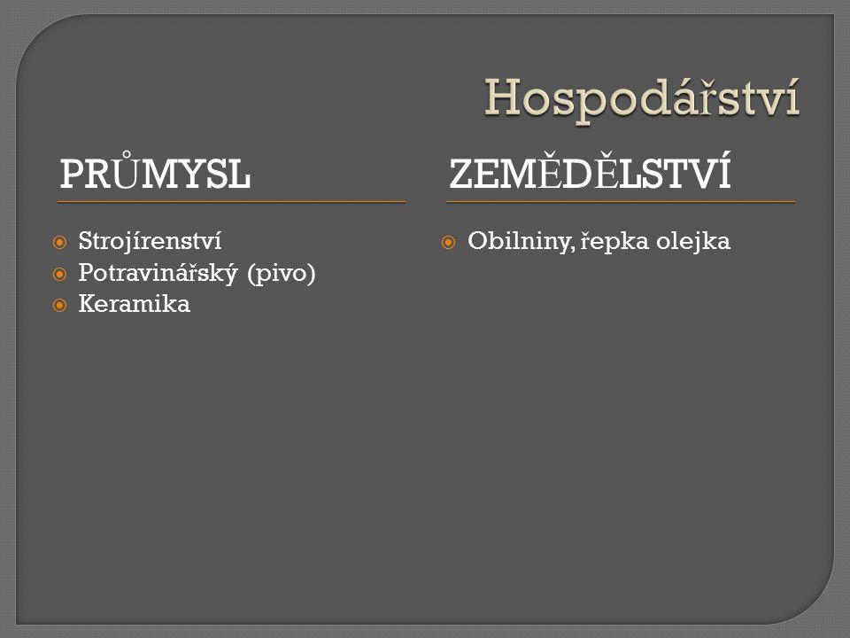 PR Ů MYSLZEM Ě D Ě LSTVÍ  Strojírenství  Potraviná ř ský (pivo)  Keramika  Obilniny, ř epka olejka