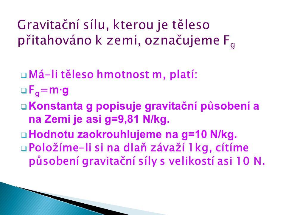  Má-li těleso hmotnost m, platí:  F g =m ∙g  Konstanta g popisuje gravitační působení a na Zemi je asi g=9,81 N/kg.  Hodnotu zaokrouhlujeme na g=1