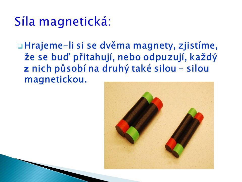  Hrajeme-li si se dvěma magnety, zjistíme, že se buď přitahují, nebo odpuzují, každý z nich působí na druhý také silou – silou magnetickou.