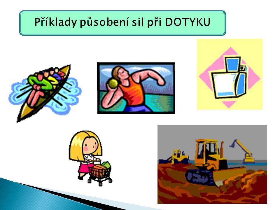 Příklady působení sil při DOTYKU