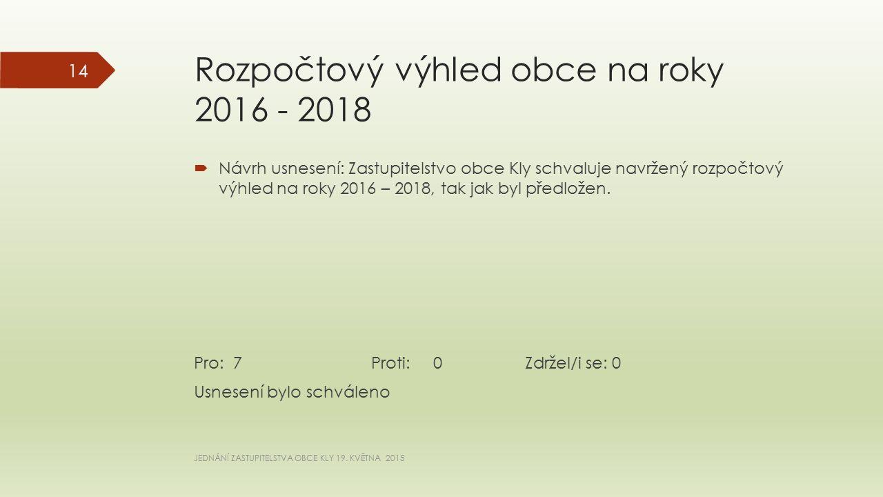 Rozpočtový výhled obce na roky 2016 - 2018  Návrh usnesení: Zastupitelstvo obce Kly schvaluje navržený rozpočtový výhled na roky 2016 – 2018, tak jak byl předložen.