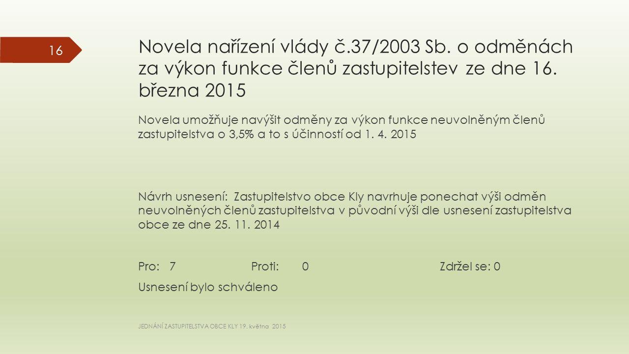 Novela nařízení vlády č.37/2003 Sb. o odměnách za výkon funkce členů zastupitelstev ze dne 16.