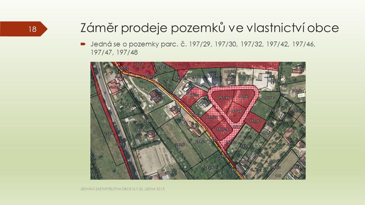 Záměr prodeje pozemků ve vlastnictví obce  Jedná se o pozemky parc.
