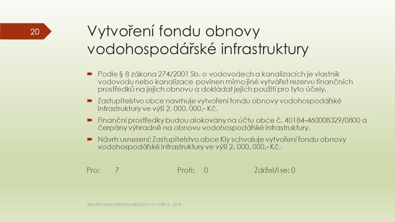Vytvoření fondu obnovy vodohospodářské infrastruktury  Podle § 8 zákona 274/2001 Sb.