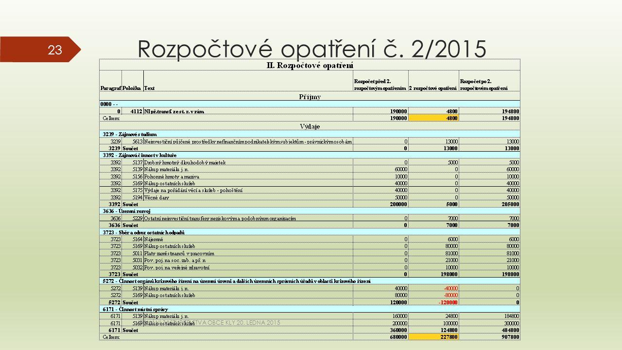 Rozpočtové opatření č. 2/2015 JEDNÁNÍ ZASTUPITELSTVA OBCE KLY 20. LEDNA 2015 23