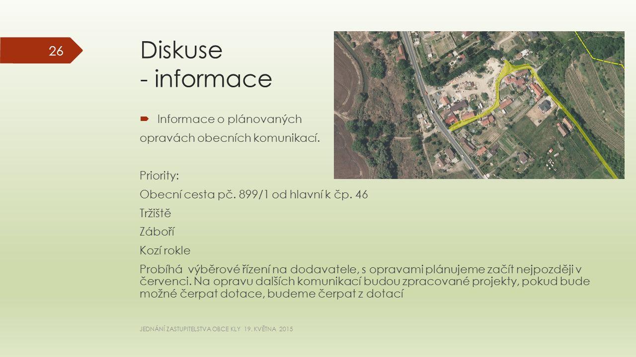 Diskuse - informace  Informace o plánovaných opravách obecních komunikací.