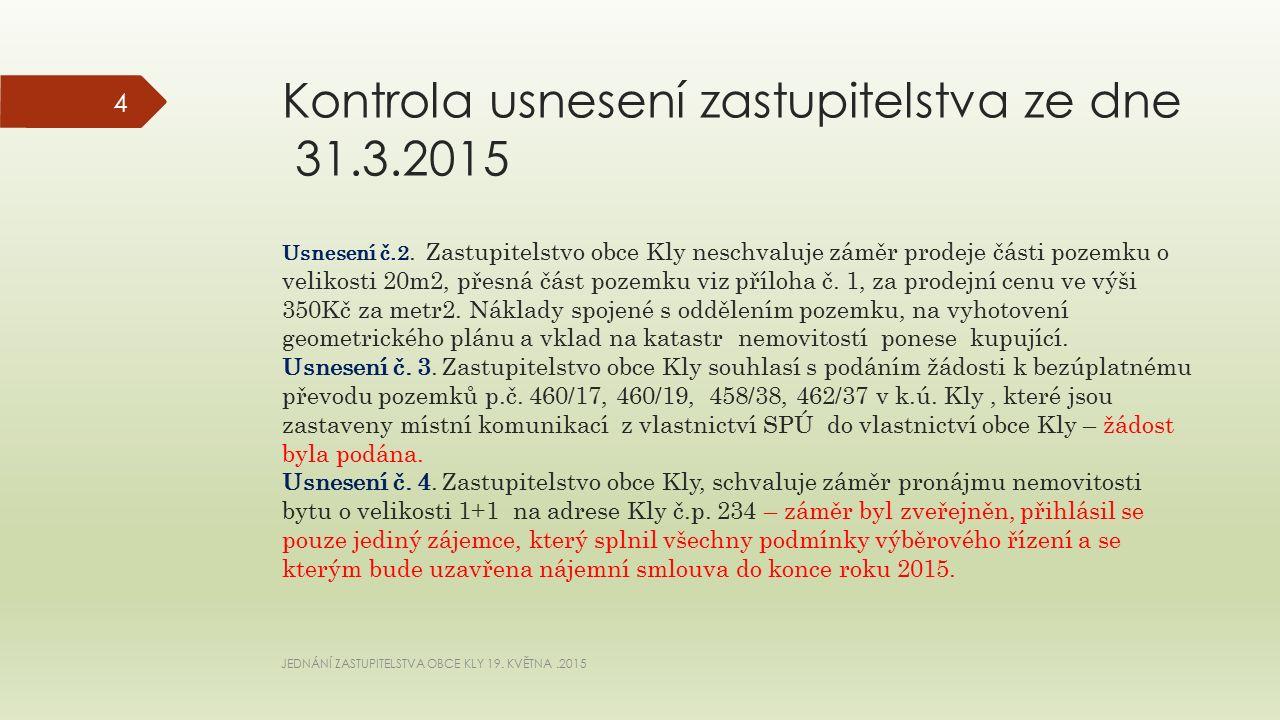 Kontrola usnesení zastupitelstva ze dne 31.3.2015 Usnesení č.2.Zastupitelstvo obce Kly neschvaluje záměr prodeje části pozemku o velikosti 20m2, přesná část pozemku viz příloha č.