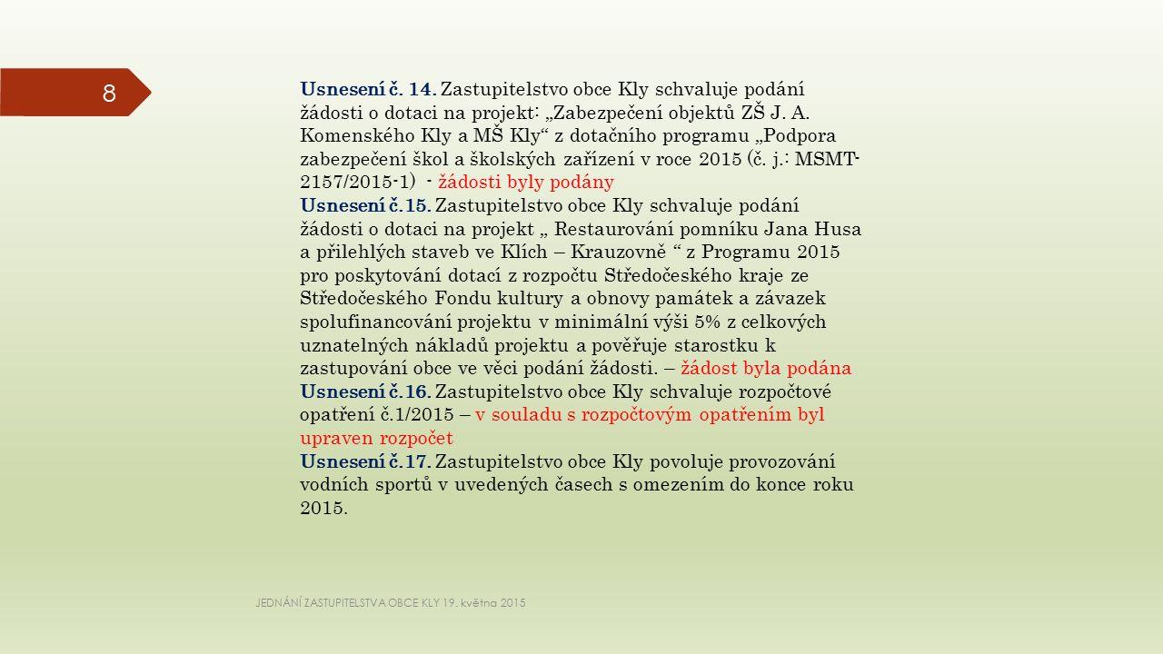 JEDNÁNÍ ZASTUPITELSTVA OBCE KLY 19. května 2015 8 Usnesení č.