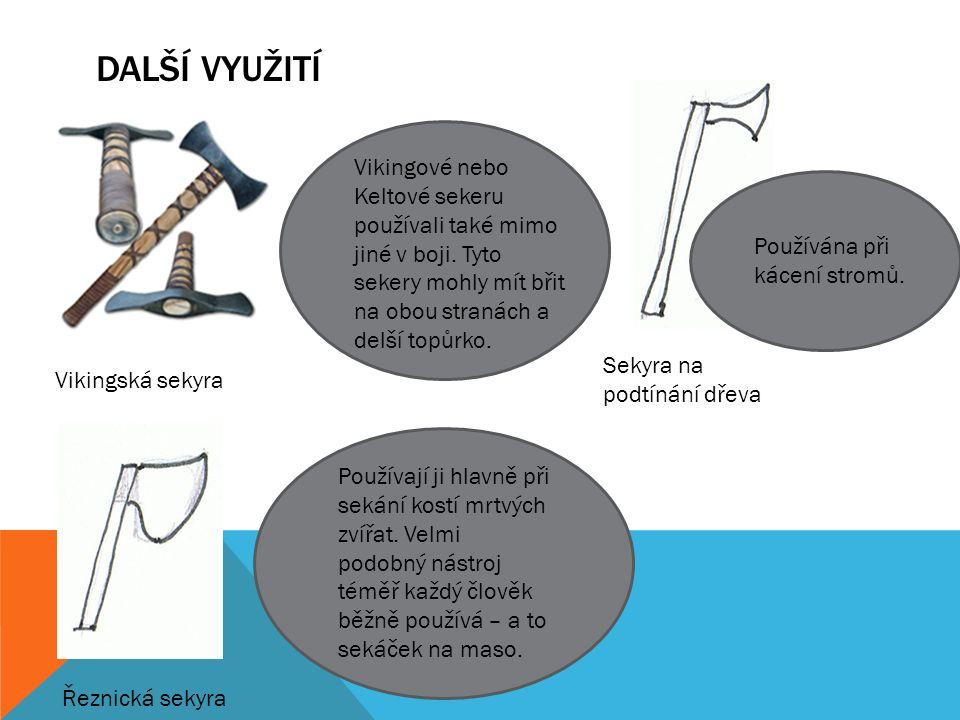 DALŠÍ VYUŽITÍ Vikingská sekyra Sekyra na podtínání dřeva Řeznická sekyra Používají ji hlavně při sekání kostí mrtvých zvířat.