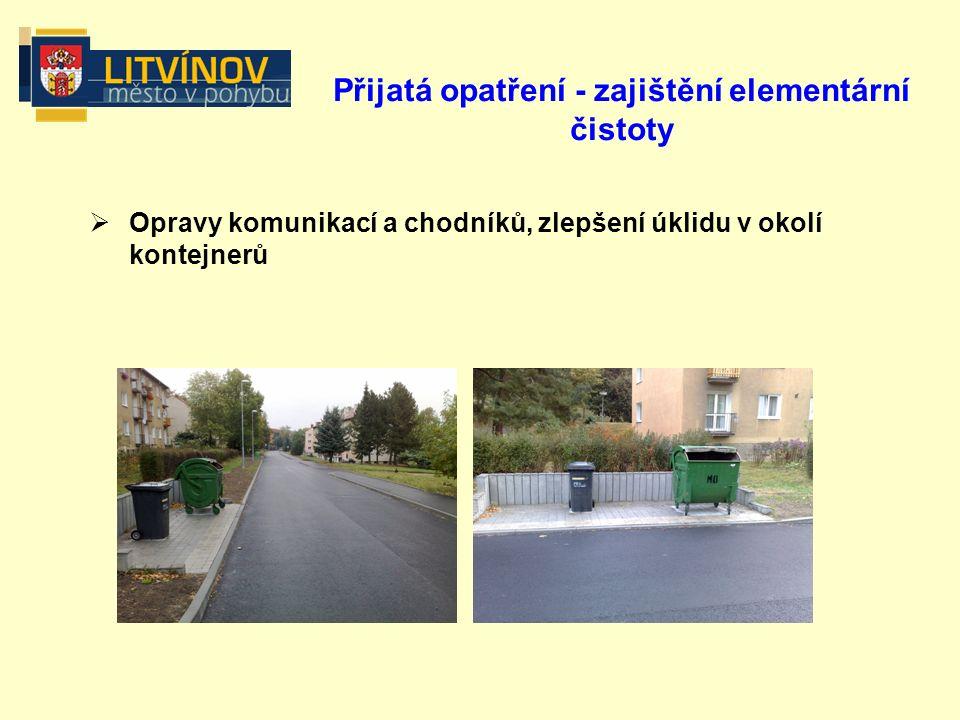 Přijatá opatření - zajištění elementární čistoty  Opravy komunikací a chodníků, zlepšení úklidu v okolí kontejnerů