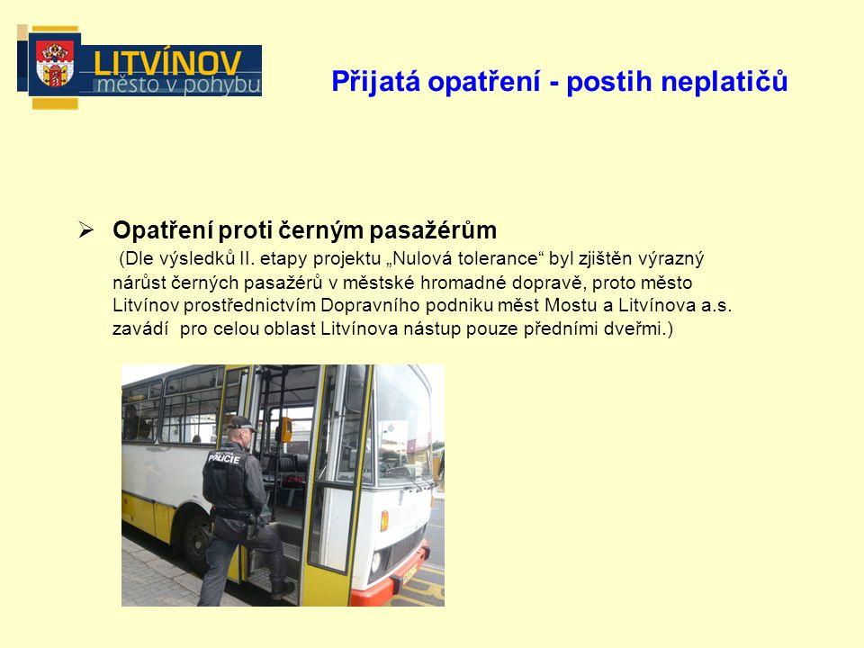 Přijatá opatření - postih neplatičů  Opatření proti černým pasažérům (Dle výsledků II.