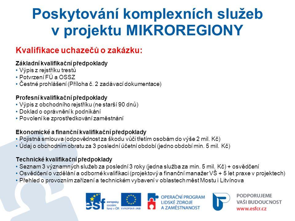Poskytování komplexních služeb v projektu MIKROREGIONY Kvalifikace uchazečů o zakázku: Základní kvalifikační předpoklady Výpis z rejstříku trestů Potvrzení FÚ a OSSZ Čestné prohlášení (Příloha č.
