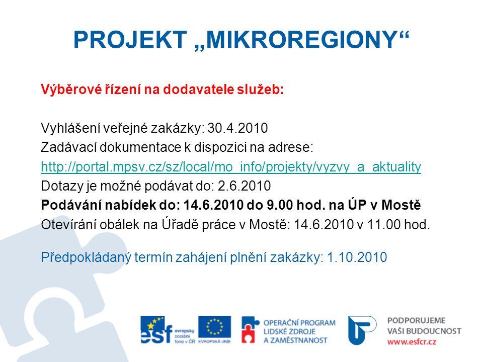 """PROJEKT """"MIKROREGIONY Výběrové řízení na dodavatele služeb: Vyhlášení veřejné zakázky: 30.4.2010 Zadávací dokumentace k dispozici na adrese: http://portal.mpsv.cz/sz/local/mo_info/projekty/vyzvy_a_aktuality Dotazy je možné podávat do: 2.6.2010 Podávání nabídek do: 14.6.2010 do 9.00 hod."""