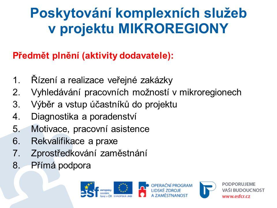 Poskytování komplexních služeb v projektu MIKROREGIONY Předmět plnění (aktivity dodavatele): 1.Řízení a realizace veřejné zakázky 2.Vyhledávání pracovních možností v mikroregionech 3.Výběr a vstup účastníků do projektu 4.Diagnostika a poradenství 5.Motivace, pracovní asistence 6.Rekvalifikace a praxe 7.Zprostředkování zaměstnání 8.Přímá podpora