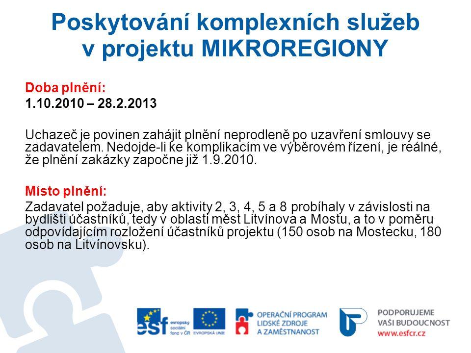 Poskytování komplexních služeb v projektu MIKROREGIONY Doba plnění: 1.10.2010 – 28.2.2013 Uchazeč je povinen zahájit plnění neprodleně po uzavření smlouvy se zadavatelem.