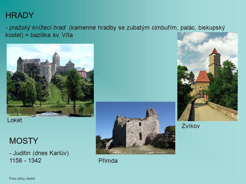 HRADY - pražský knížecí hrad (kamenné hradby se zubatým cimbuřím, palác, biskupský kostel) = bazilika sv.