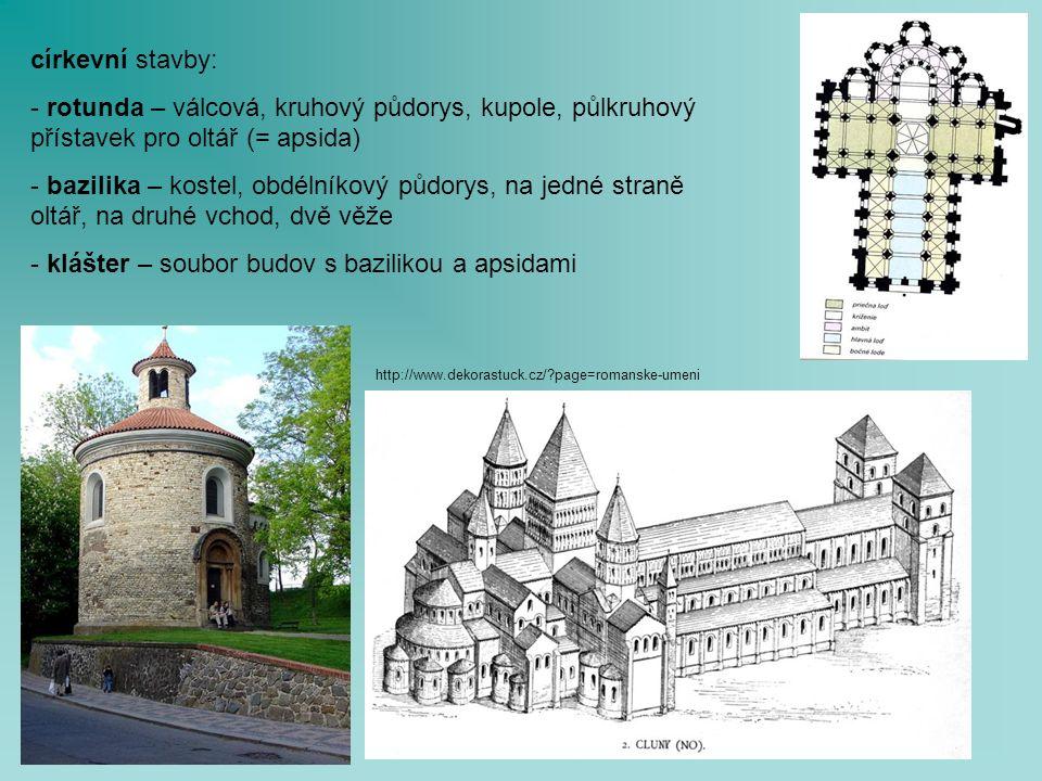 církevní stavby: - rotunda – válcová, kruhový půdorys, kupole, půlkruhový přístavek pro oltář (= apsida) - bazilika – kostel, obdélníkový půdorys, na jedné straně oltář, na druhé vchod, dvě věže - klášter – soubor budov s bazilikou a apsidami http://www.dekorastuck.cz/ page=romanske-umeni