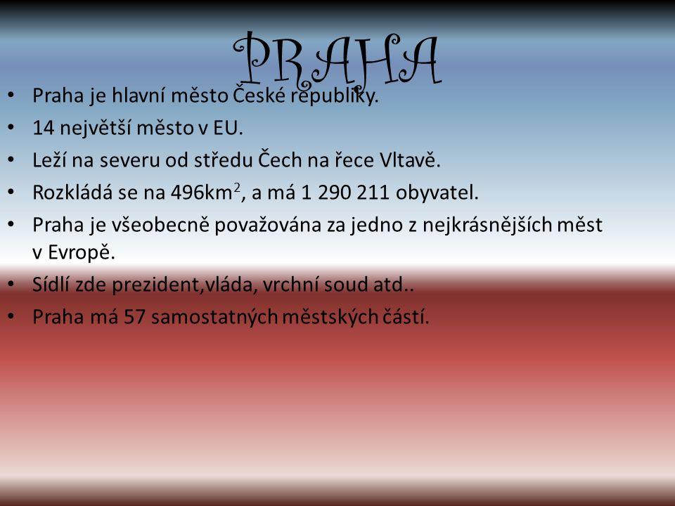 Praha je hlavní město České republiky. 14 největší město v EU.