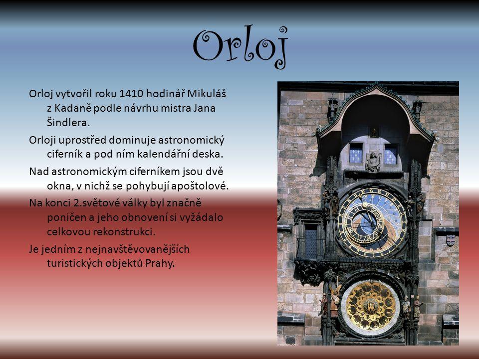 Orloj Orloj vytvořil roku 1410 hodinář Mikuláš z Kadaně podle návrhu mistra Jana Šindlera.
